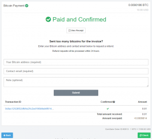 Overpaid Bitcoin invoice