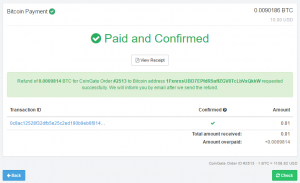 Refunded Bitcoin invoice