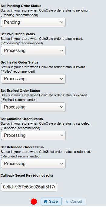 Configure osCommerce Bitcoin gateway order statuses