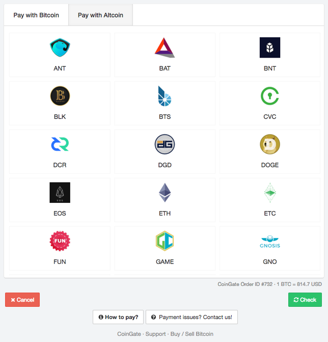 Paying with altcoins made simple by CoinGate