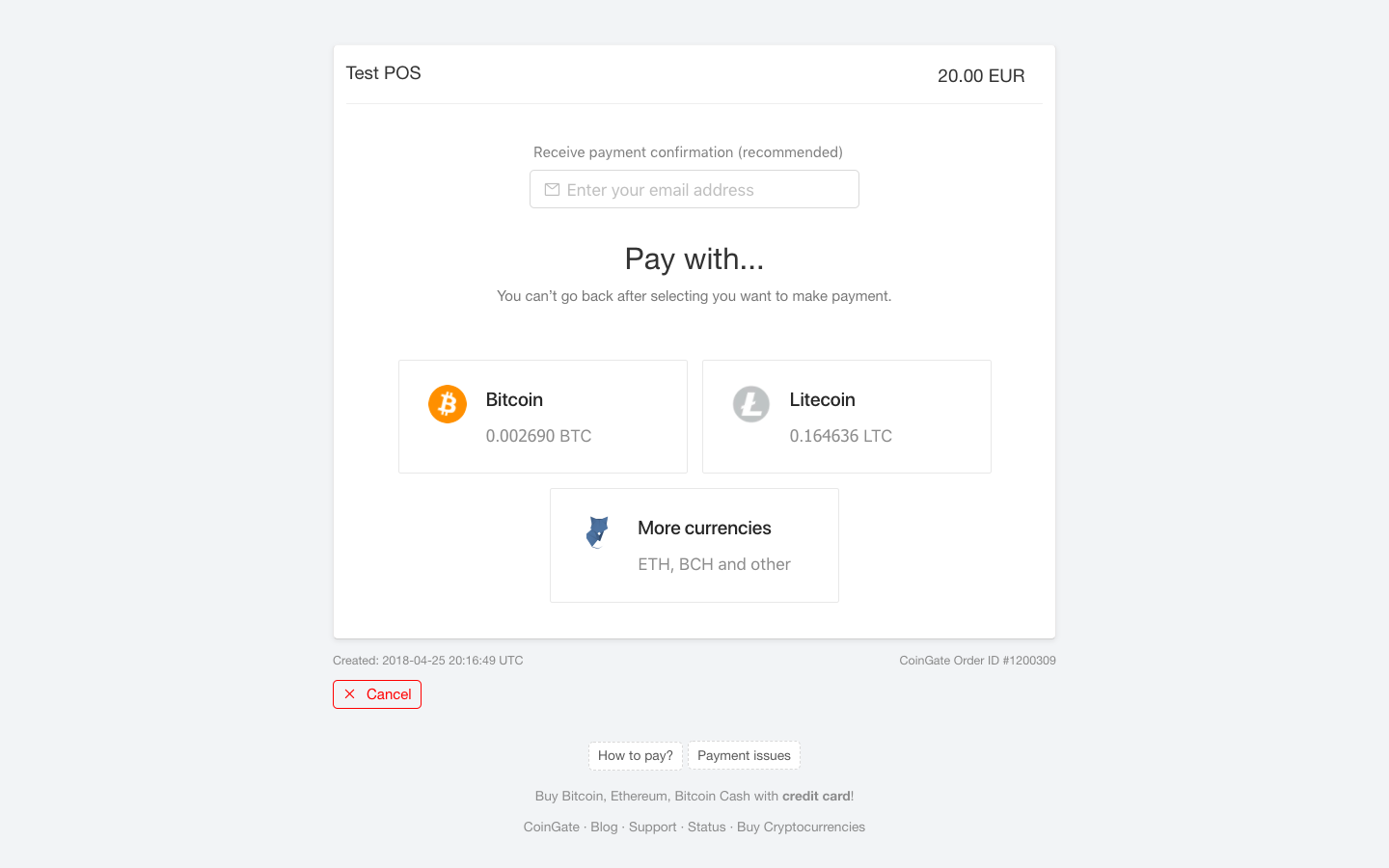 CoinGate new invoice design - Bitcoin, Litecoin, 50+ other cryptocurrencies