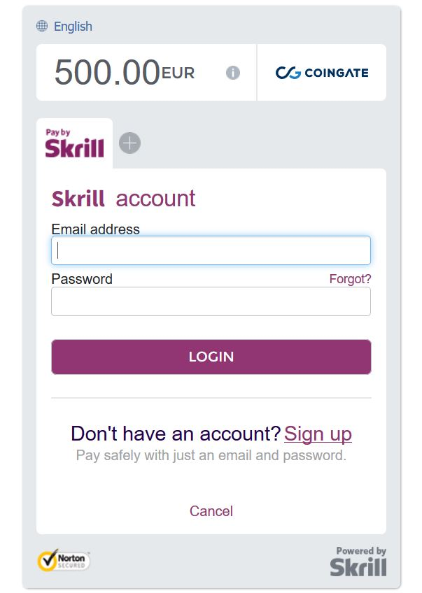 Skrill payment window to CoinGate