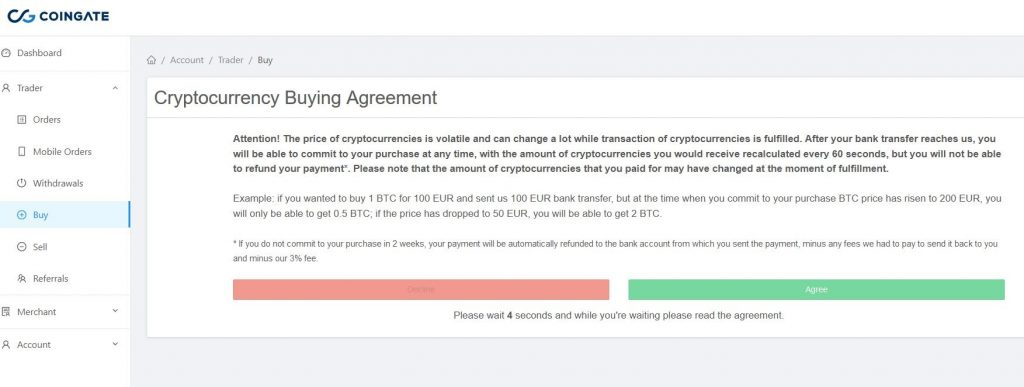 Coingate purchase crypto