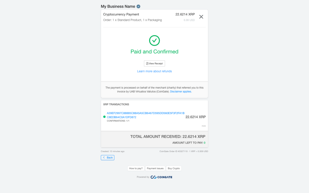 xrp payment coingate