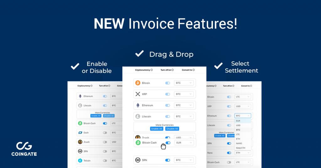 customize invoice coingate