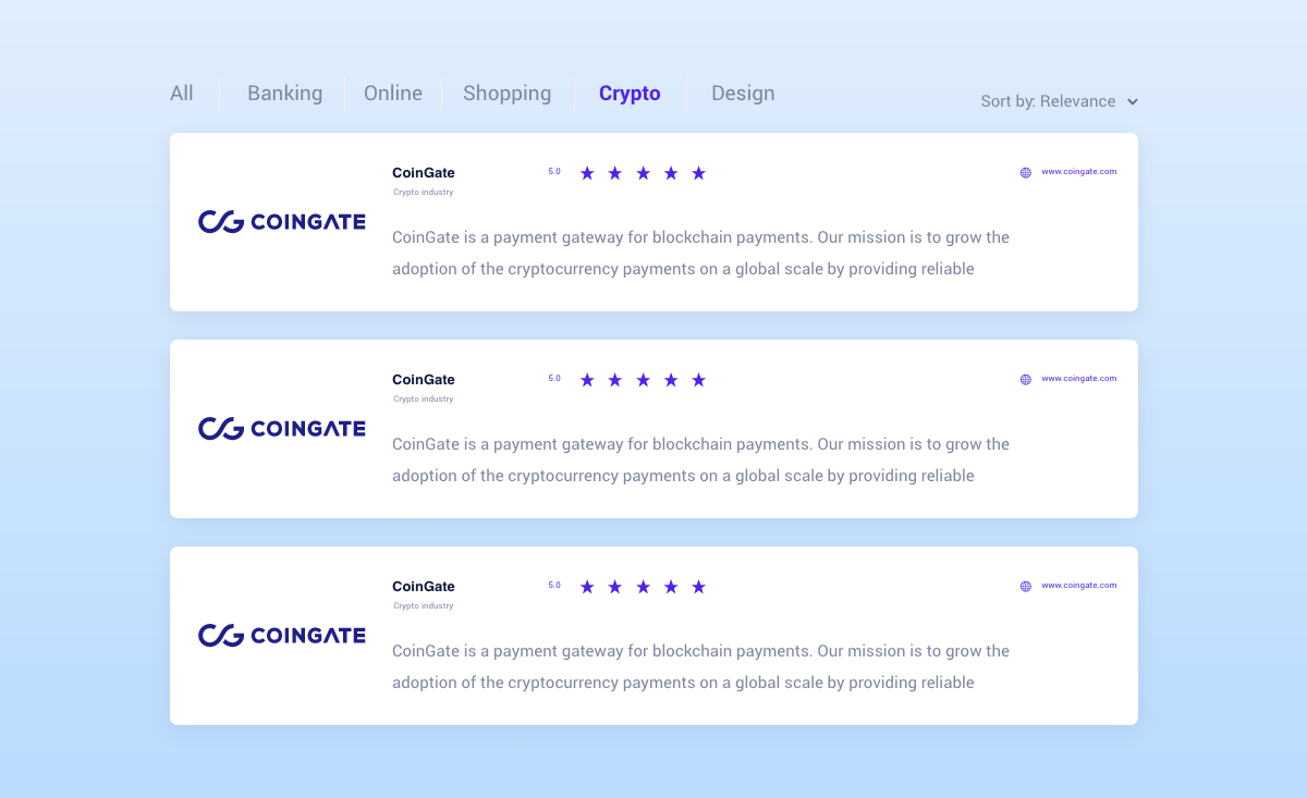 merchant crypto directory coingate