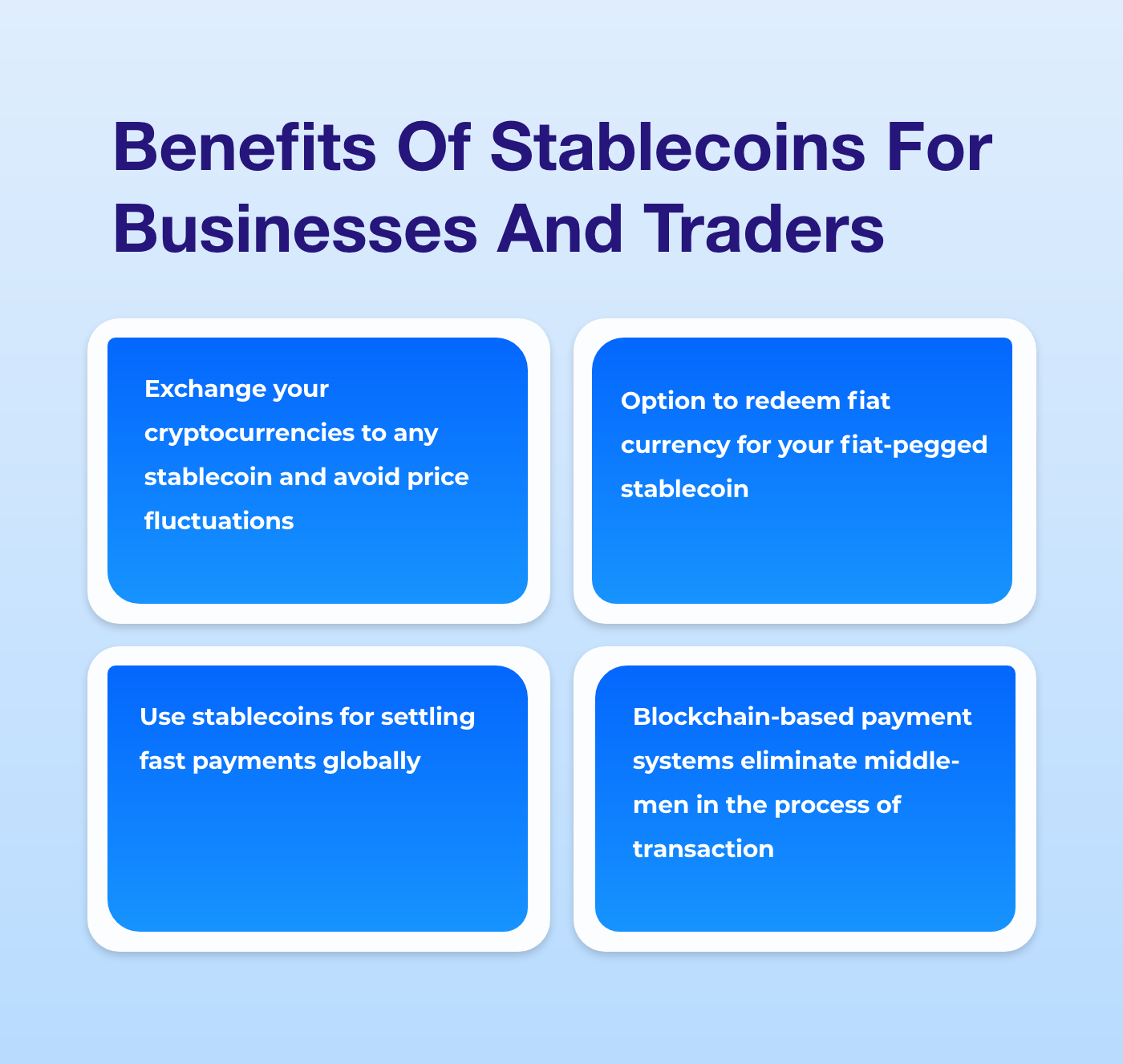 benefits of fiat-pegged stablecoins