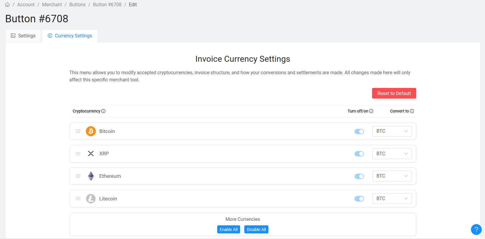 currency settings crypto