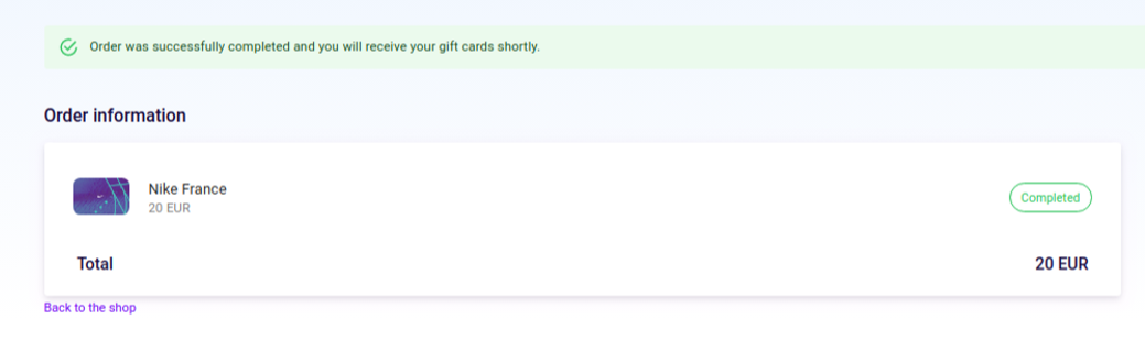 gift card successful order