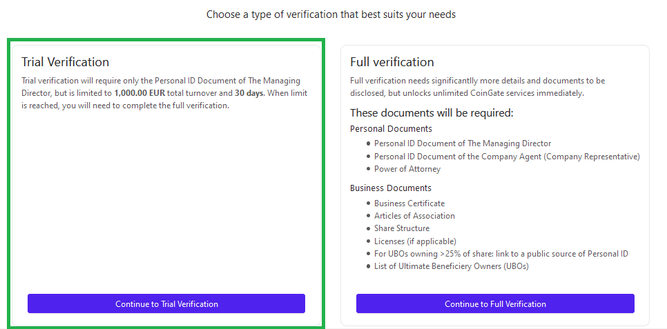 business trial verification window