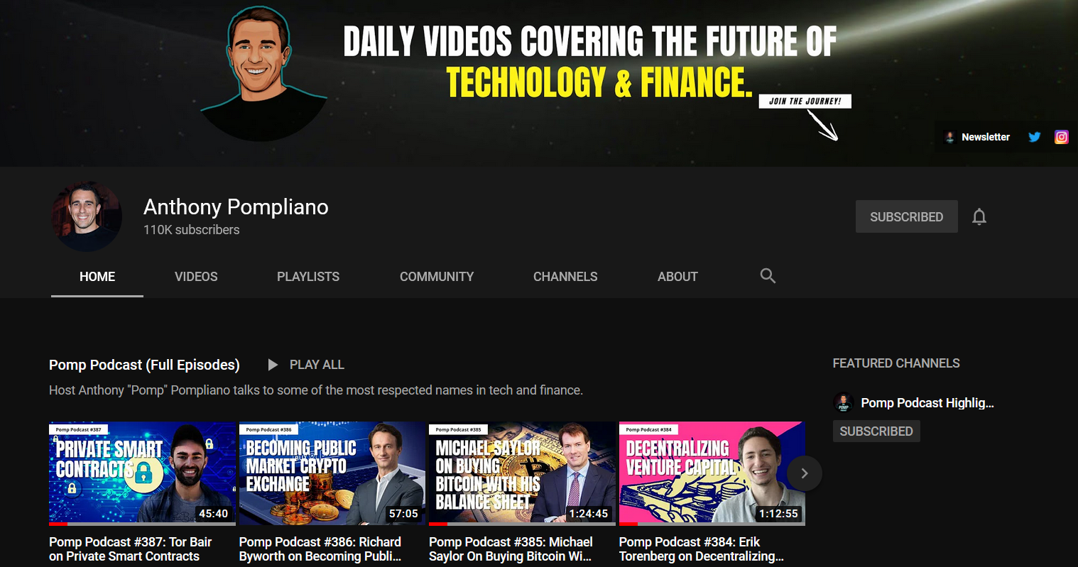anthony pompliano youtube channel