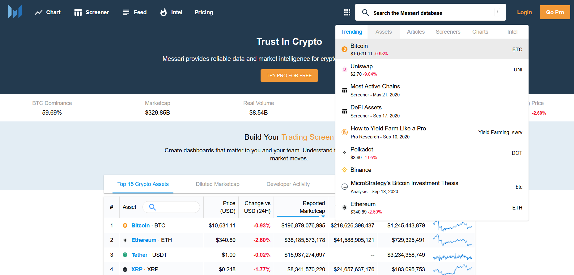 crypto market data analytic tool messari