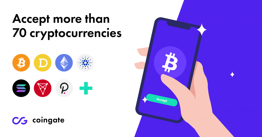 Merchants can now accept more than 70 cryptocurrencies using CoinGate